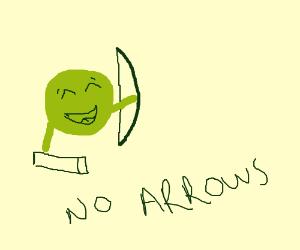 Happy Pea got a bow, but no arrows.
