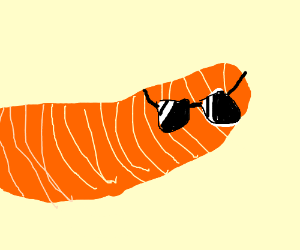 An orange worm wears sunglasses.
