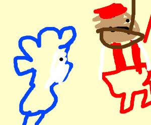 Sonic scoffs at Mario's suicide