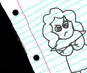 Sambchop sketch on lined paper is upset.