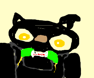 evil panther in green bikini is late for bus