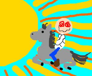 deranged man rides gray horse to the sun
