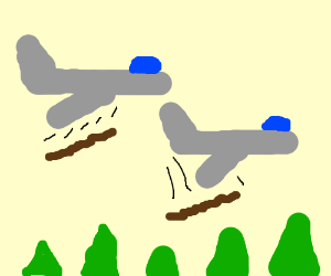 Planes drop long turds on forests.