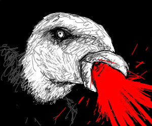Eagle with blood in it's mouth