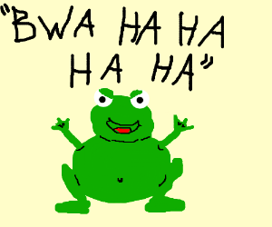 Mad scientist frog-man laughs evilly!