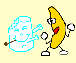 A Marshmallow attempts to grab a bannana
