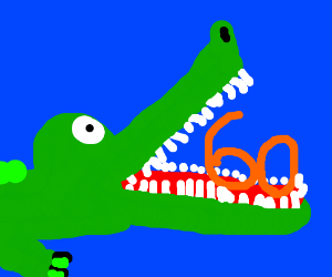 Crocodile is about to eat the number 60