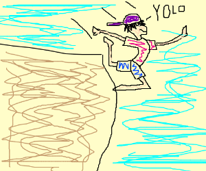Idiotic Modern kid jumps off of a cliff, YOLO