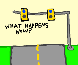 What do i do when the stoplight turns blue?