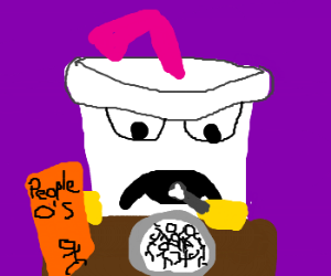 Master Shake (ATHF) eats a bowl of People-Os