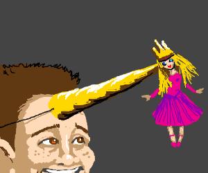 Deranged kid makes a unicorn princess costume.