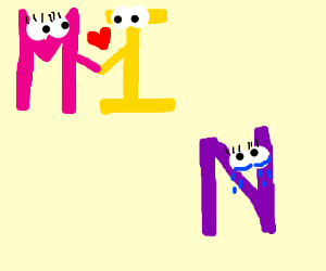 I likes M more than N. N is not happy.