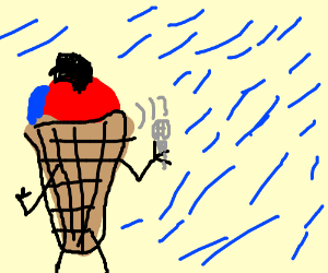 Mohican haired ice cream sings in rain