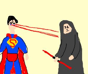 Superman zaps a sith with his eye beams