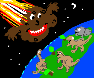 Meteor with face kills the dinosaurs
