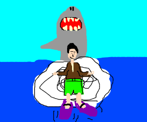 Shark about to eat Chinese man