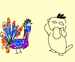 psyduck and some weird peacock pokemon