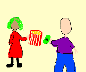 Green hair woman selling popcorn to man