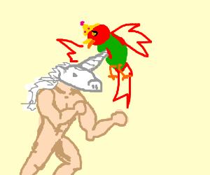 Unicorn Man stabs Princess Parrot.