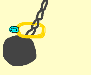 golden ring with diamond on wrecking ball