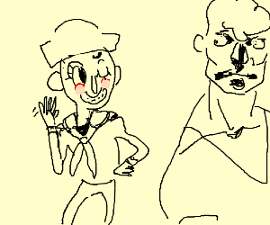 Sailor flirts with handsome man
