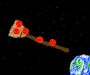 Five red balls ride a broom towards the earth.