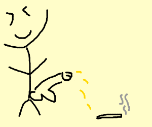 Man pees on cigarette to extinguish it