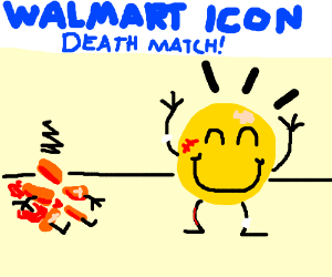 Deathmatch between Walmart icons. Smiley wins.