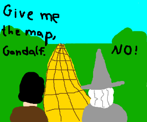 The Fellowship follows the Yellow Brick Road.