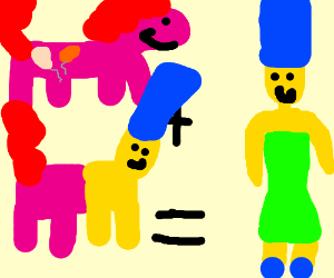 Pinkie Pie and Marge Simpson's mutant child.