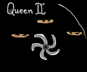 """Queen II"" album cover w/ 3 ninjas and a star"