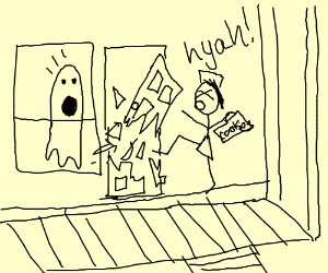 Angry girlscout smashes door on ghost
