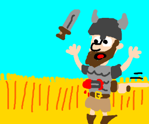 Viking gets defeated in a cornfield