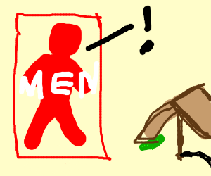 Red Male Bathroom Sign Sees A Pickle Trap