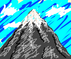 mountain with blue skies