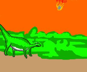 Green dino hides in anticipation behind bush