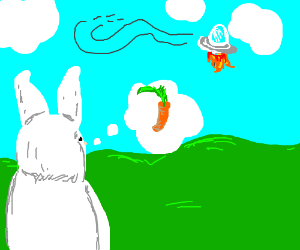 Bunny thinks ufo is a carrot