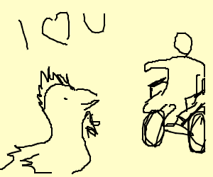A chicken professing his love to a parapeligic