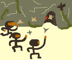 Ninjas throwing shurikens in a cave
