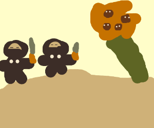 Ninjas explore deserted island