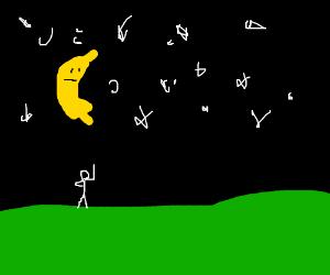 The crescent moon looks like a banana