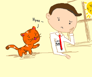 Orange cat tries to cheer up Bob