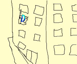 DC D holding a sword climbs building