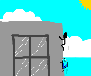 D follows man up a tall building (close-up)