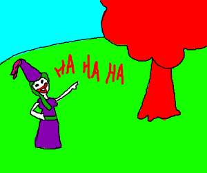 Princess Joker laughs at red tree.
