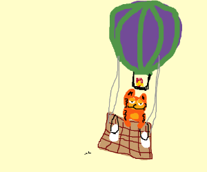 Garfield is going UP UP AND AWAY!!