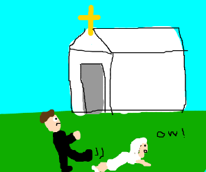 Groom kicks bride outside church