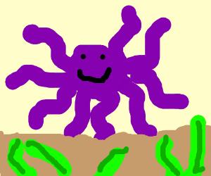 Purple Octupus is happy