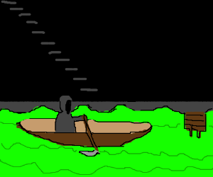 Grim Reaper ferries across the river Styx