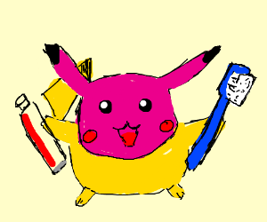 Magenta-head Pikachu fights human tooth decay